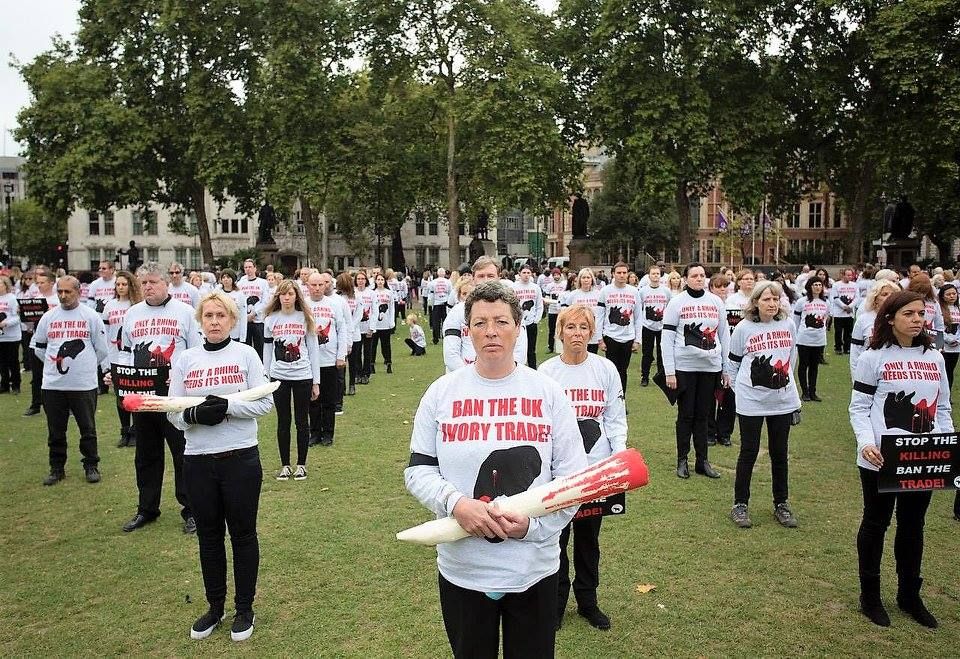 LONDON GMFER SILENT PROTEST FOR ELEPHANTS & RHINOS