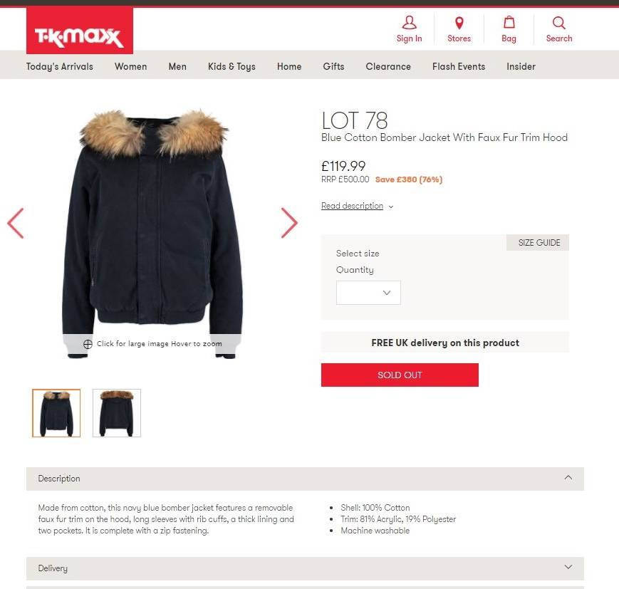 TK Maxx listed this coat as fake but it turned out to be Fox Fur trim