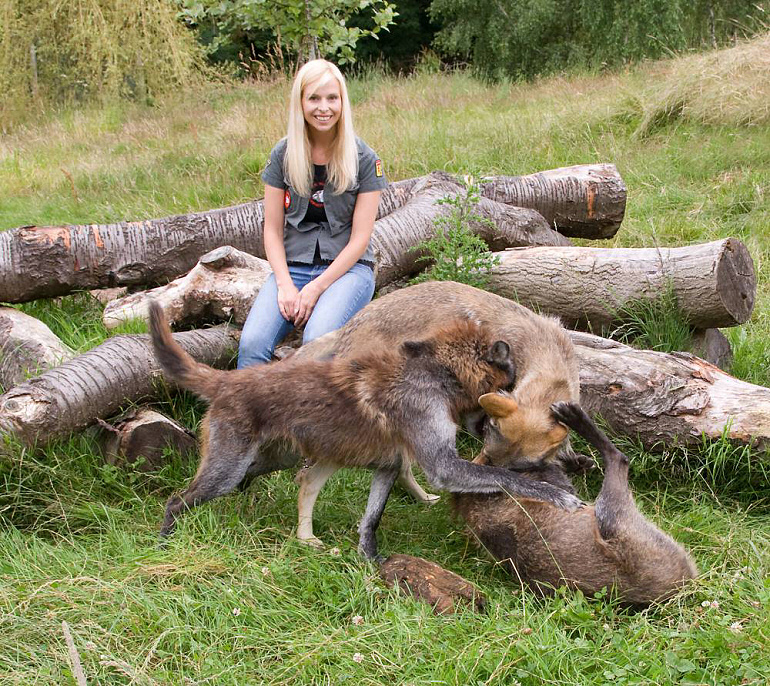 Anneka Svenska with some of the tame wolves she has met at The Wolf Conservation Trust